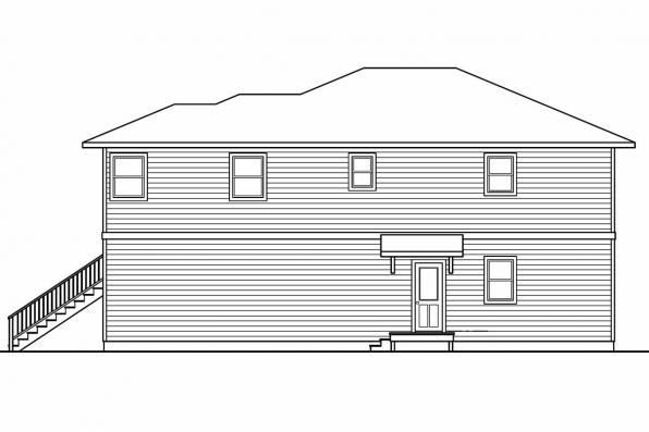 Narrow House Plan - Glenview 30-687 - Left Elevation