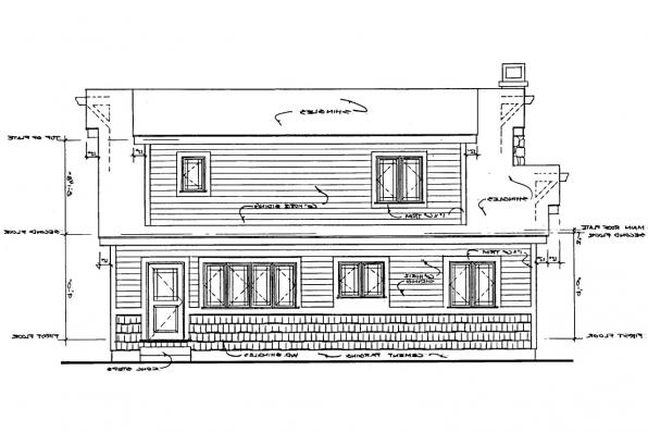 Narrow Lot House Plan - Absecon 41-011 - Rear Elevation