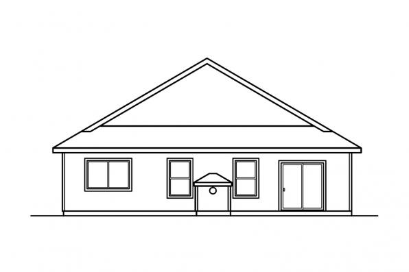 Narrow Lot House Plan - Ashland 30-191 - Rear Elevation