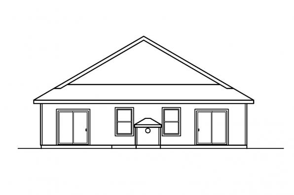 Narrow Lot House Plan - Bradford 30-189 - Rear Elevation