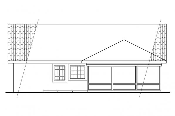 Narrow Lot House Plan - Daytona 11-034 - Rear Elevation