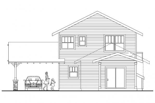 Narrow Lot House Plan - Grovedale 30-574 - Rear Elevation