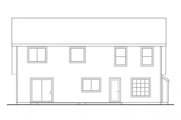 Narrow Lot House Plan - Malta 30-168 - Rear Elevation