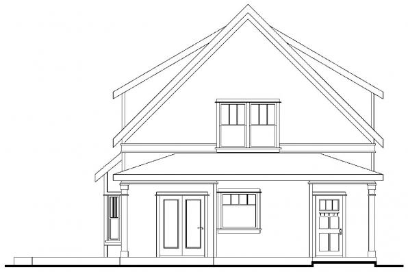 Narrow Lot House Plan - Mayberry 30-619 - Rear Elevation