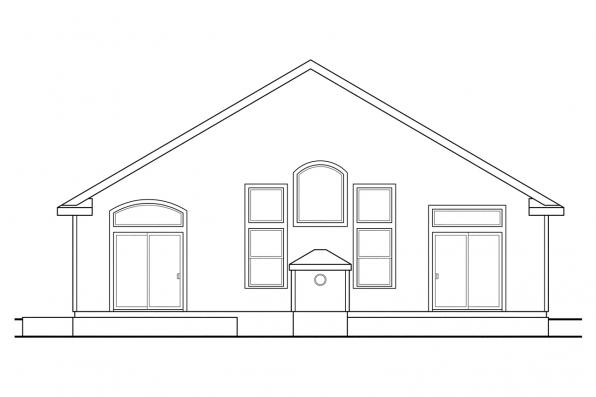 Narrow Lot House Plan - Russellville 30-724 - Rear Elevation