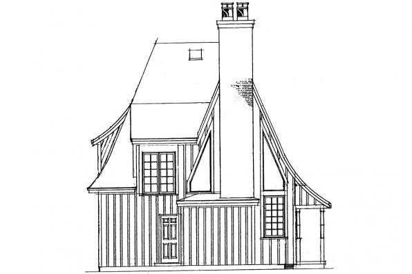 Narrow Lot House Plan - Topeka 42-012 - Rear Elevation