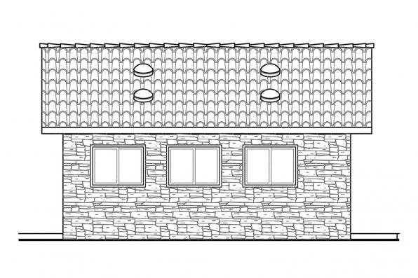 One Car Garage Plan 20-001 - Right Elevation