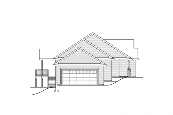 One Story House Plan - Lakeridge 31-069 - Right Elevation