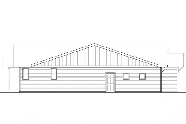 One Story House Plan - Siuslaw 31-065 - Right Elevation