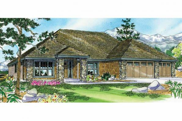 Prairie Style House Plan - Creekstone 30-708 - Front Elevation