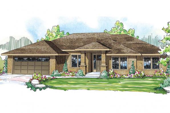 Prairie Style House Plan - Crownpoint 30-770 - Front Elevation