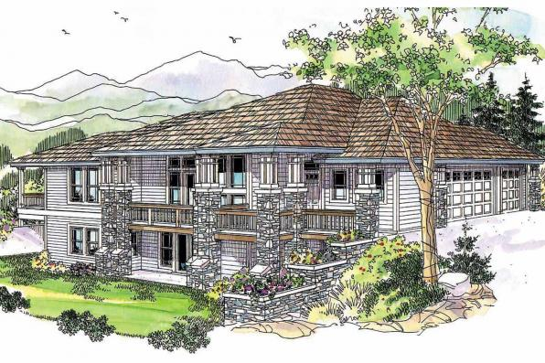 Prairie Style House Plan - Edenbridge 30-626 - Front Elevation