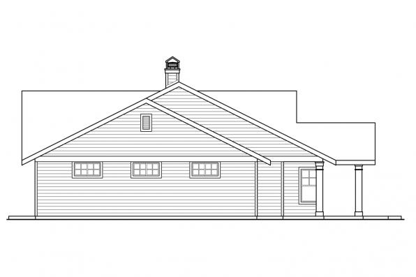 Prairie Style House Plan - Elk Lake 30-849 - Right Elevation