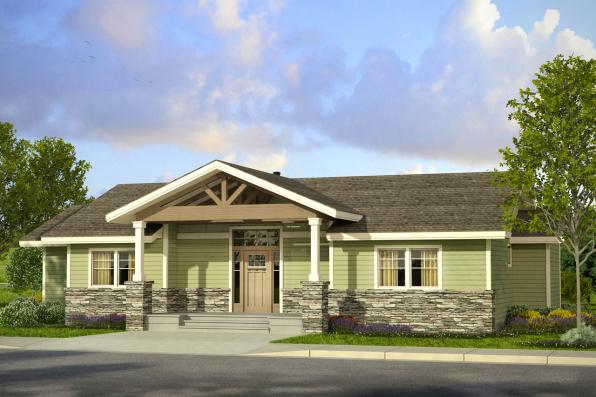 Prairie Style House plan - Lakeville 30-998 - Front Elevation