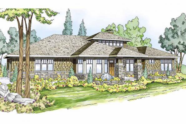 Prairie Style House Plan - Metolious 30-746 - Front Elevation