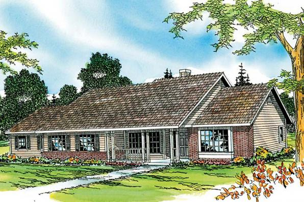 Ranch House Plan - Alpine 30-043 - Front Elevation