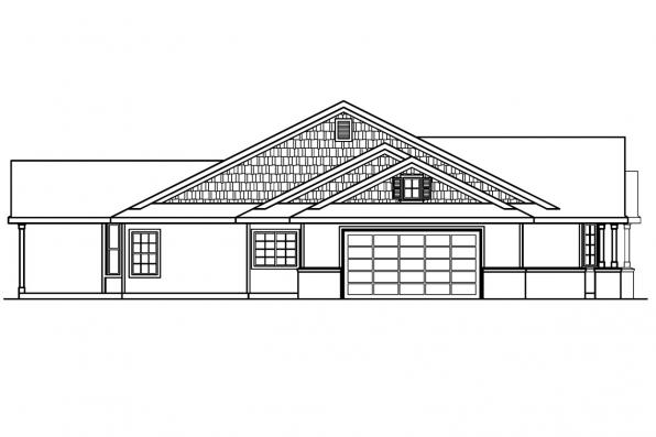 Ranch House Plan - Ashley 30-264 - Right Elevation