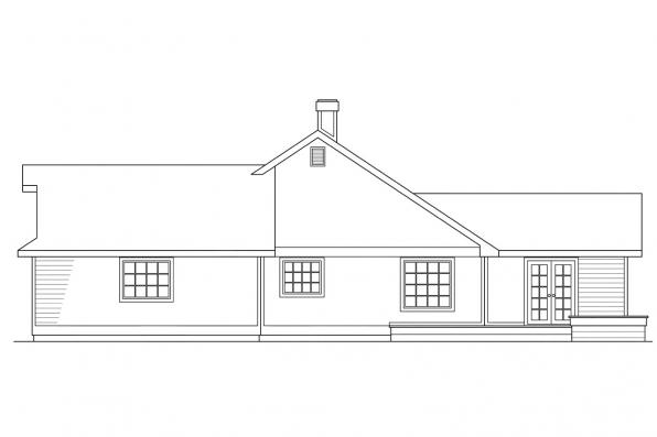 Ranch House Plan - Austin 10-051 - Left Elevation