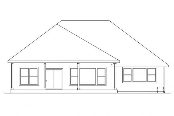 Ranch House Plan - Cascadia 30-804 - Rear Elevation
