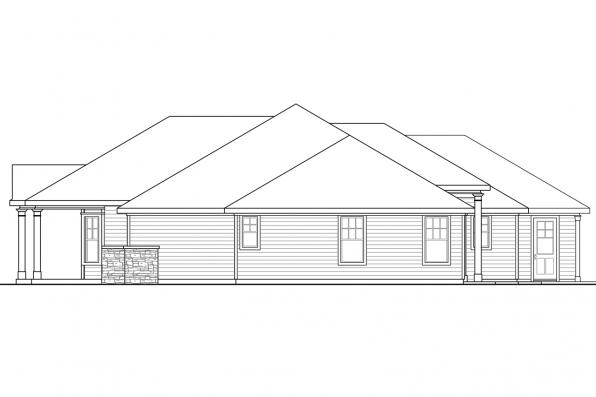 Ranch House Plan - Cloverdale 30-682 - Left Elevation
