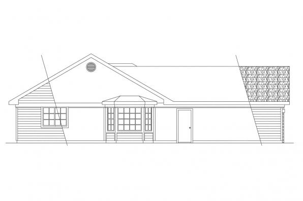 Ranch House Plan - Dakota 10-076 - Right Elevation