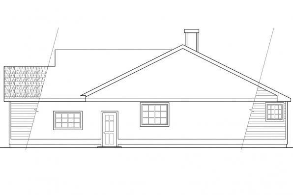 Ranch House Plan - Danforth 10-004 - Left Elevation