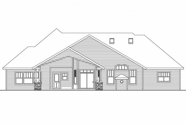Ranch House Plan - Elkheart 30-645 - Rear Elevation