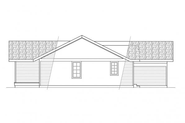Ranch House Plan - Evanston 10-112 - Right Elevation
