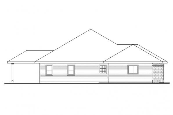 Ranch House Plan - Green Valley 70-005 - Right Elevation