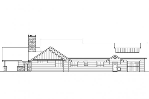 Ranch House Plan - Heartfall 10-620 - Rear Elevation