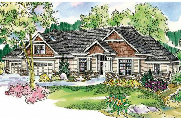 Ranch House Plan - Heartington 10-550 - Front Elevation