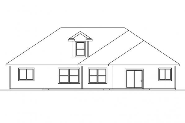 Ranch House Plan - Hennebery 30-520 - Rear Elevation