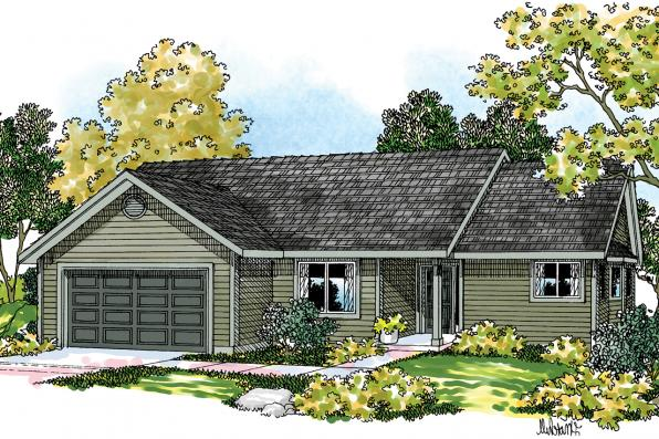 Ranch House Plan - Lander 30-225 - Front Elevation