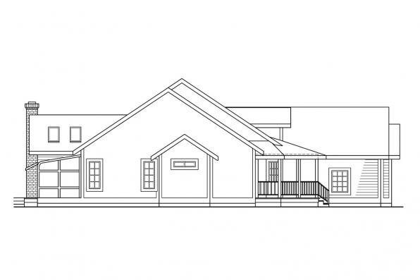 Ranch House Plan - Lasson 10-203 - Right Elevation