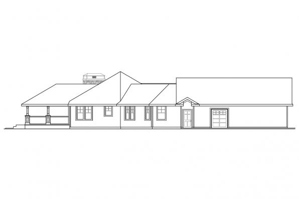 Ranch House Plan - Mountain View 10-558 - Right Elevation