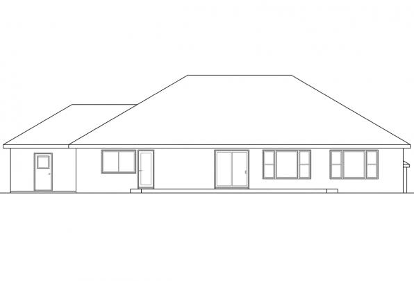 Ranch House Plan - Northrop 30-096 - Rear Elevation