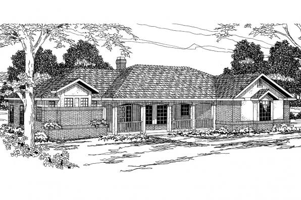 Ranch House Plan - Nueces 10-209 - Front Elevation