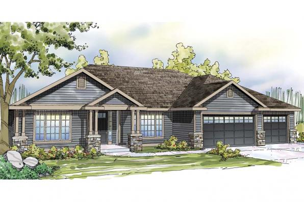 Ranch House Plan - Oak Hill 30-810 - Front Elevation