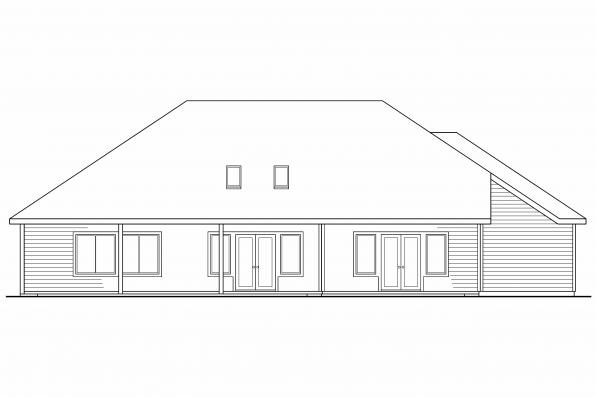 Ranch House Plan - Palermo 30-160 - Rear Elevation