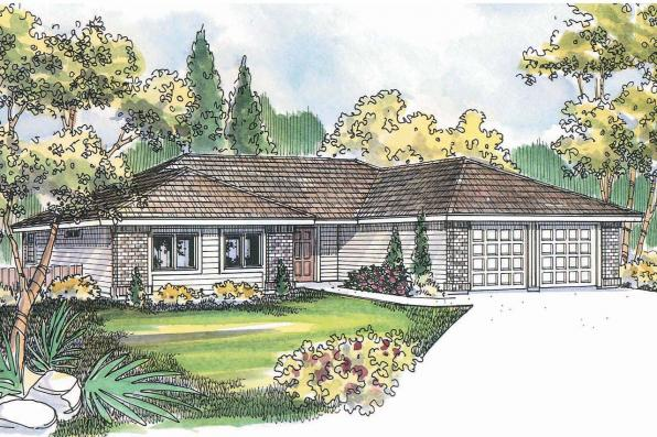 Ranch House Plan - Paxton 30-320 - Front Elevation