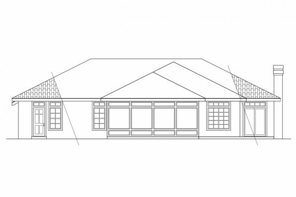 Ranch House Plan - Plainview 11-079 - Rear Elevation