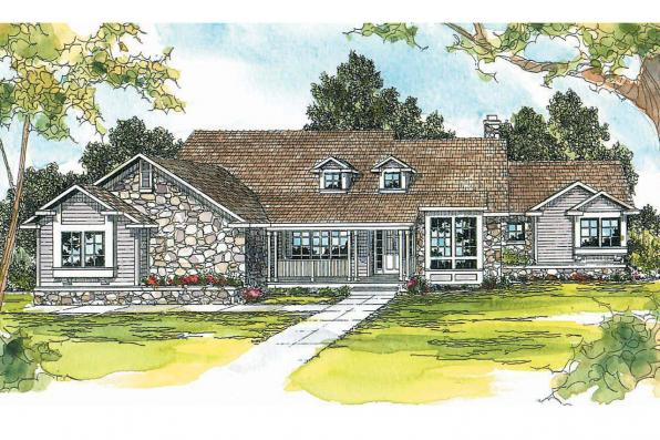Ranch House Plan - Rainier 10-303 - Front Elevation