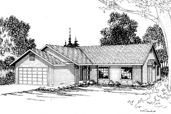 Ranch House Plan - Renton 10-177 - Front Elevation