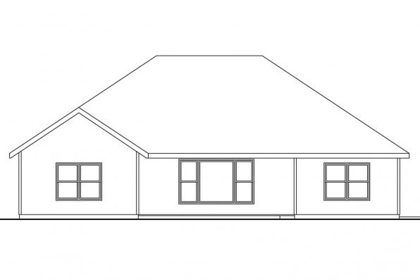 Ranch House Plan - Ridgefield 30-696 - Rear Elevation