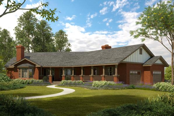 Ranch House Plan - Saginaw 10-251 - Front Elevation