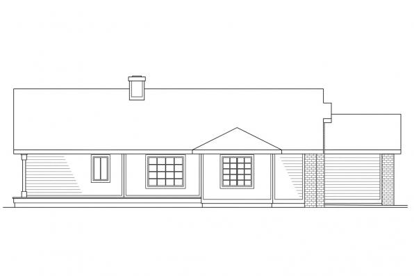 Ranch House Plan - Shelton 10-033 - Right Elevation