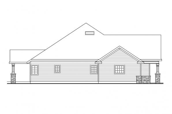 Ranch House Plan - Springheart 10-530 - Right Elevation