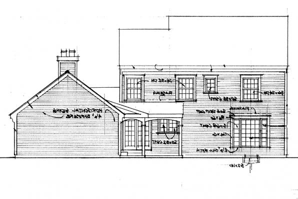 Saltbox House Plan - Iverness 42-008 - Rear Elevation