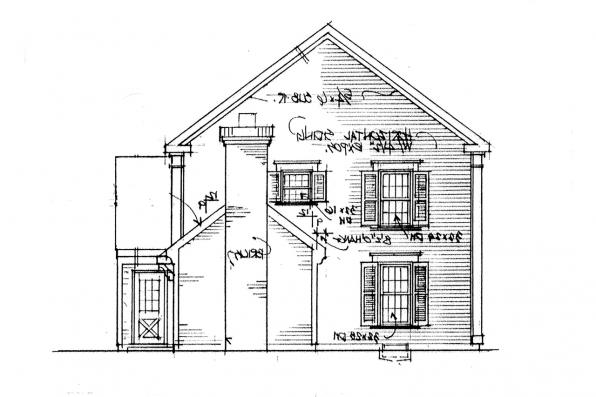 Saltbox House Plan - Maumee 42-007 - Right Elevation