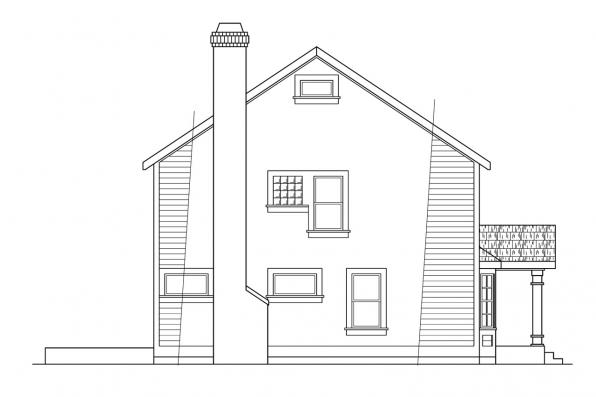 Saltbox House Plan - Westport 10-155 - Right Elevation
